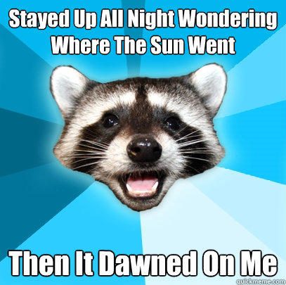 Stayed Up All Night Wondering Where The Sun Went Then It Dawned On Me - Stayed Up All Night Wondering Where The Sun Went Then It Dawned On Me  Lame Pun Coon