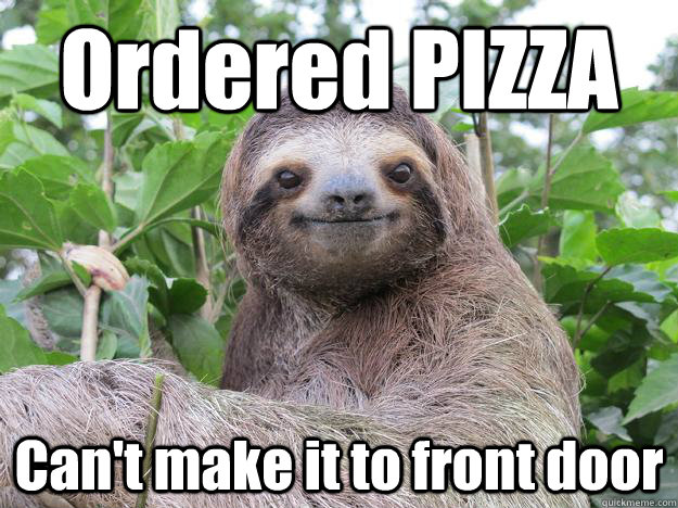 Ordered PIZZA Can't make it to front door  Stoned Sloth