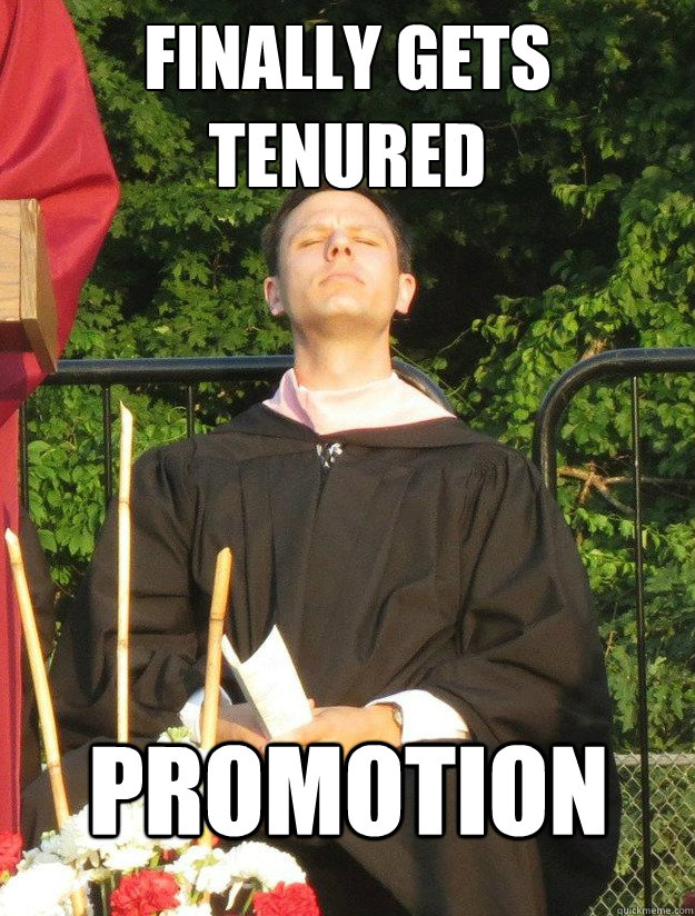 Finally Gets Tenured Promotion  face full of sax