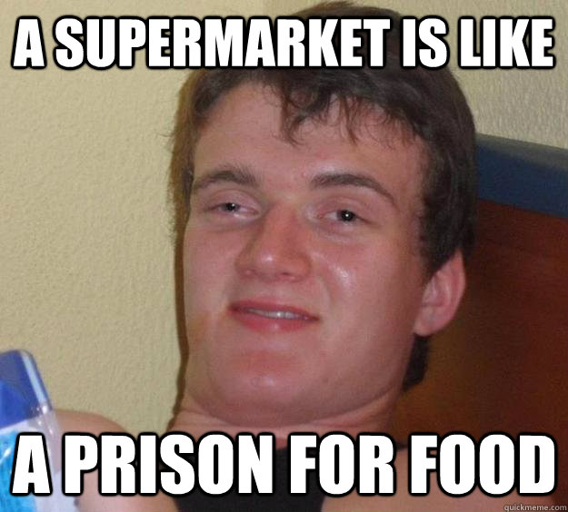 A supermarket is like a prison for food - A supermarket is like a prison for food  10 Guy