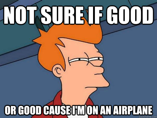 Not sure if good or good cause I'm on an airplane - Not sure if good or good cause I'm on an airplane  Futurama Fry