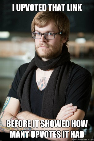 I upvoted that link before it showed how many upvotes it had  Hipster Barista