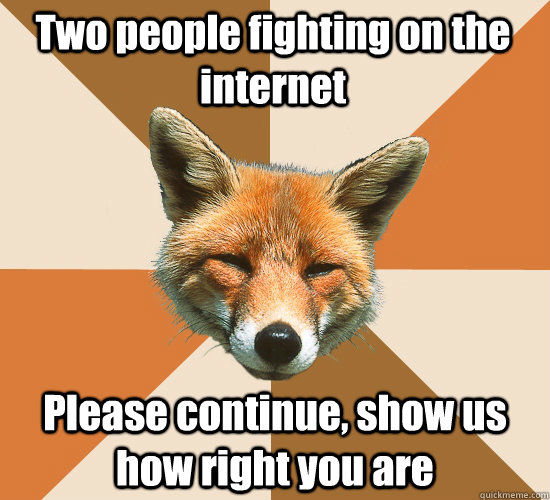 Two people fighting on the internet Please continue, show us how right you are  Condescending Fox