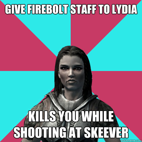 give firebolt staff to lydia to hold kills you while shooting at skeever - give firebolt staff to lydia to hold kills you while shooting at skeever  Lydia Skyrim Meme