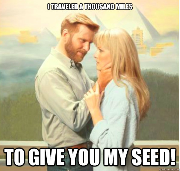 I traveled a thousand miles  to give you my seed!