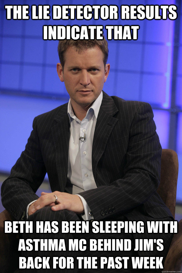 The lie detector results indicate that beth has been sleeping with asthma mc behind jim's back for the past week