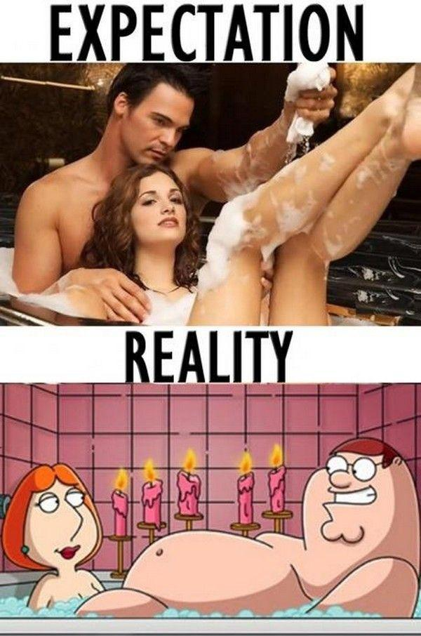 Romantic bath expectation vs actually reality.