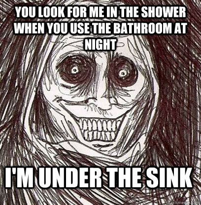 You look for me in the shower when you use the bathroom at night I'm under the sink  Shadowlurker