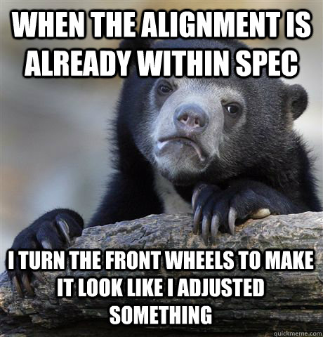 When the alignment is already within spec I turn the front wheels to make it look like i adjusted something - When the alignment is already within spec I turn the front wheels to make it look like i adjusted something  Confession Bear