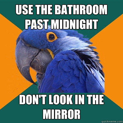 use the bathroom past midnight don't look in the mirror - use the bathroom past midnight don't look in the mirror  Paranoid Parrot