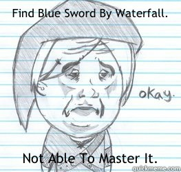 Find Blue Sword By Waterfall. Not Able To Master It.