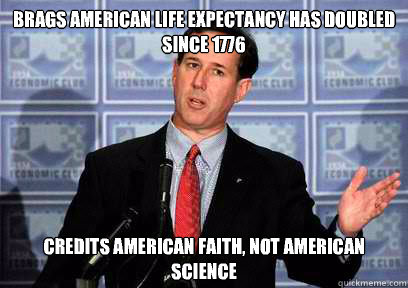 Brags American life expectancy has doubled since 1776 Credits American faith, not American science