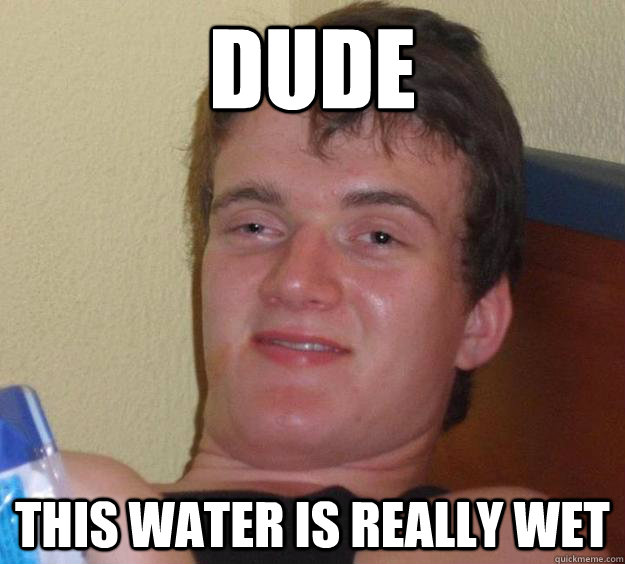 Dude This water is really wet - Dude This water is really wet  10 Guy