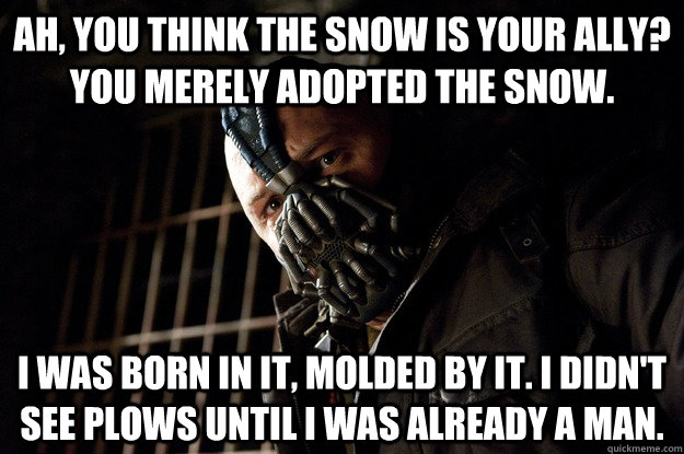 Ah, you think the snow is your ally? You merely adopted the snow. I was born in it, molded by it. I didn't see plows until i was already a man. - Ah, you think the snow is your ally? You merely adopted the snow. I was born in it, molded by it. I didn't see plows until i was already a man.  Angry Bane
