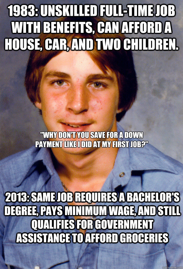 1983: unskilled full-time job with benefits, can afford a house, car, and two children. 2013: same job requires a bachelor's degree, pays minimum wage, and still qualifies for government assistance to afford groceries