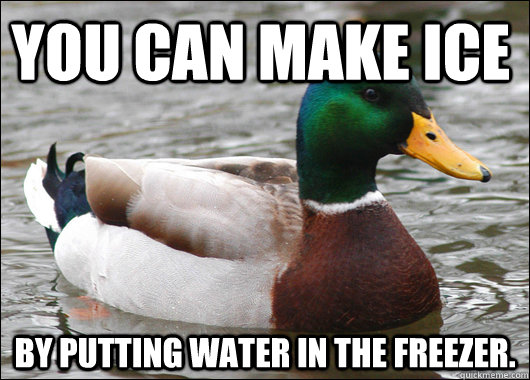You can make ice By putting water in the freezer. - You can make ice By putting water in the freezer.  Actual Advice Mallard