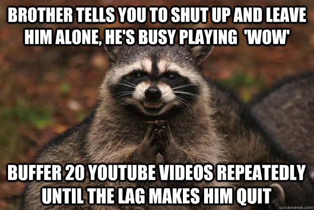 brother tells you to shut up and leave him alone, he's busy playing  'WoW' buffer 20 youtube videos repeatedly until the lag makes him quit - brother tells you to shut up and leave him alone, he's busy playing  'WoW' buffer 20 youtube videos repeatedly until the lag makes him quit  Evil Plotting Raccoon