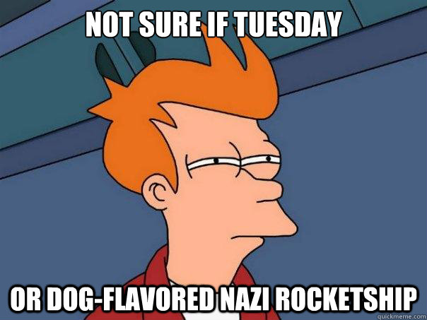 Not sure if tuesday Or dog-flavored nazi rocketship - Not sure if tuesday Or dog-flavored nazi rocketship  Futurama Fry