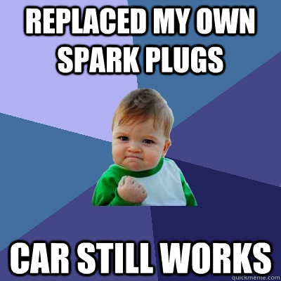 Replaced my own spark plugs car still works - Replaced my own spark plugs car still works  Success Kid
