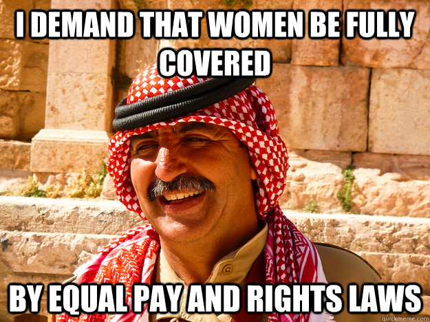 I demand that women be fully covered by equal pay and rights laws   Benghazi Muslim