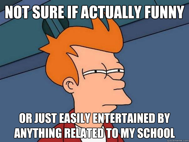 Not sure if actually funny Or just easily entertained by anything related to my school  Futurama Fry