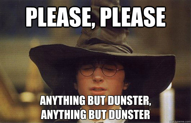 Please, please Anything but Dunster, anything but dunster  House Sorting Hat