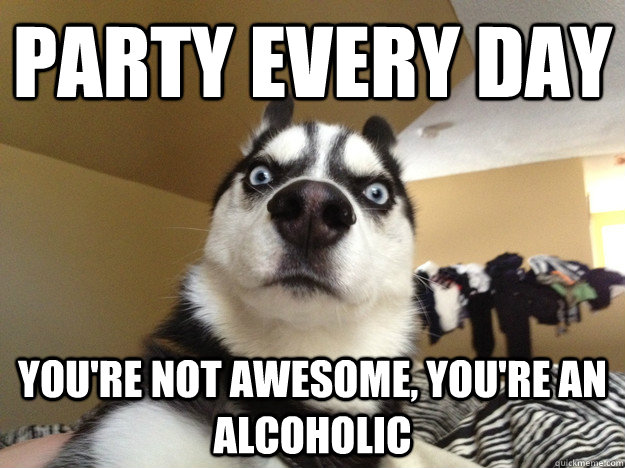 Party every day You're not awesome, You're an alcoholic