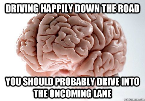 Driving happily down the road you should probably drive into the oncoming lane - Driving happily down the road you should probably drive into the oncoming lane  Scumbag Brain