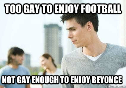 too gay to enjoy football not gay enough to enjoy beyonce - too gay to enjoy football not gay enough to enjoy beyonce  Misc