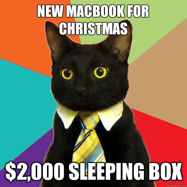 NEW MACBOOK FOR CHRISTMAS $2,000 SLEEPING BOX - NEW MACBOOK FOR CHRISTMAS $2,000 SLEEPING BOX  Business Cat