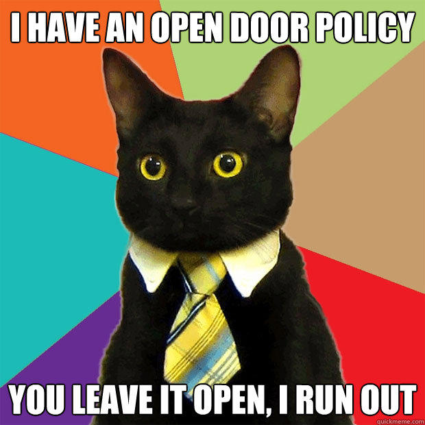 I have an open door policy You leave it open, I run out  - I have an open door policy You leave it open, I run out   Business Cat