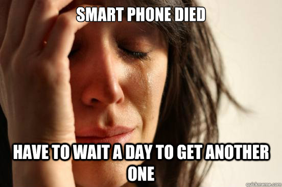 smart phone died have to wait a day to get another one - smart phone died have to wait a day to get another one  First World Problems