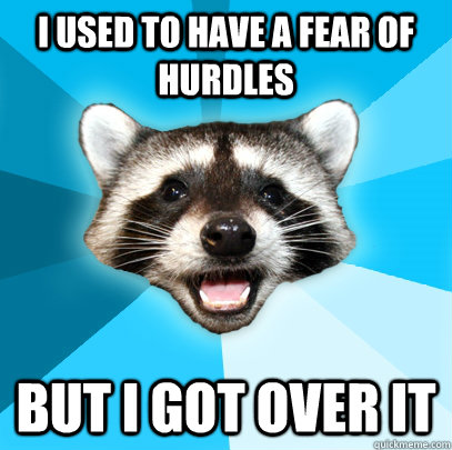I USED TO HAVE A FEAR OF HURDLES BUT I GOT OVER IT - I USED TO HAVE A FEAR OF HURDLES BUT I GOT OVER IT  Lame Pun Coon