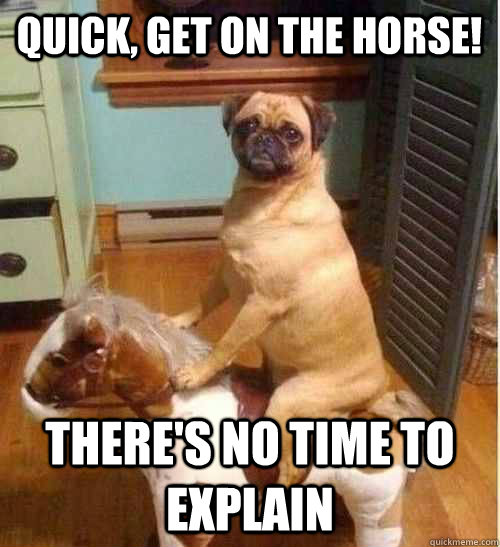 Quick, Get on the Horse! There's no time to explain - Quick, Get on the Horse! There's no time to explain  Pug on rocking horse
