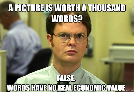 A picture is worth a thousand words? False.  words have no real economic value - A picture is worth a thousand words? False.  words have no real economic value  Dwight