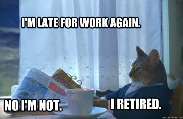 I'm late for work again. No I'm not. I retired. - I'm late for work again. No I'm not. I retired.  Sophisticated Cat