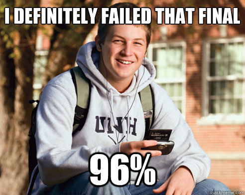 I definitely failed that final 96%