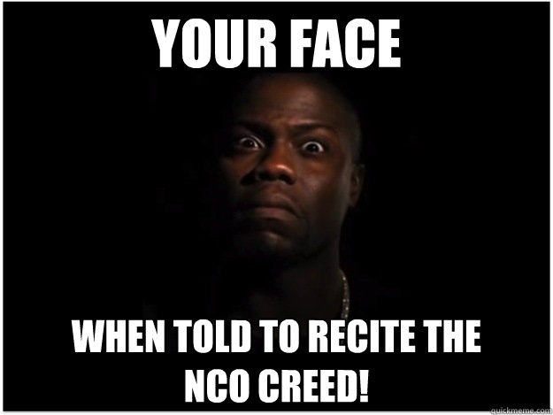 YOUR FACE WHEN TOLD TO RECITE THE  NCO CREED! - YOUR FACE WHEN TOLD TO RECITE THE  NCO CREED!  Misc