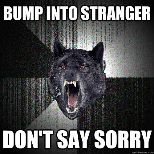 BUMP INTO STRANGER DON'T SAY SORRY  Insanity Wolf