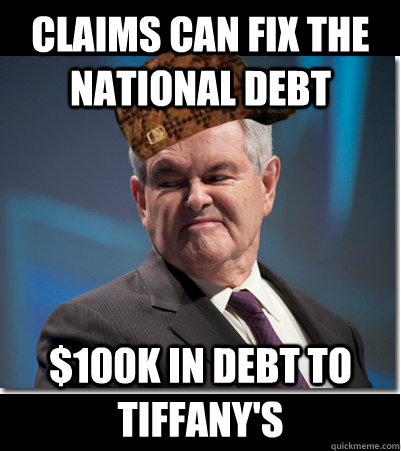 Claims can fix the national debt $100k in debt to tiffany's