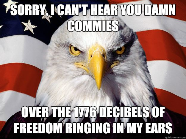Sorry, I can't hear you damn Commies over the 1776 decibels of freedom ringing in my ears