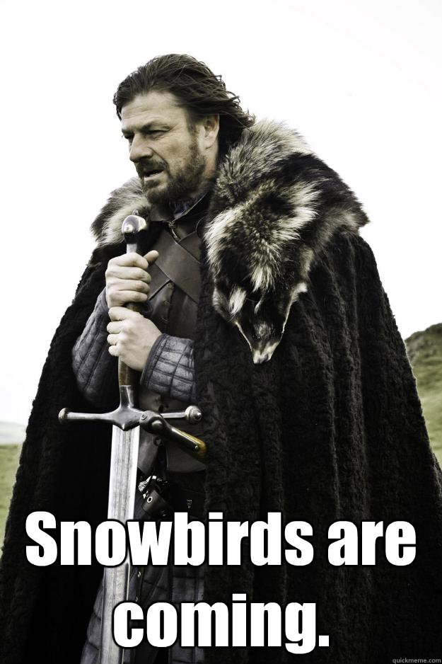 Snowbirds are coming. -  Snowbirds are coming.  Winter is coming