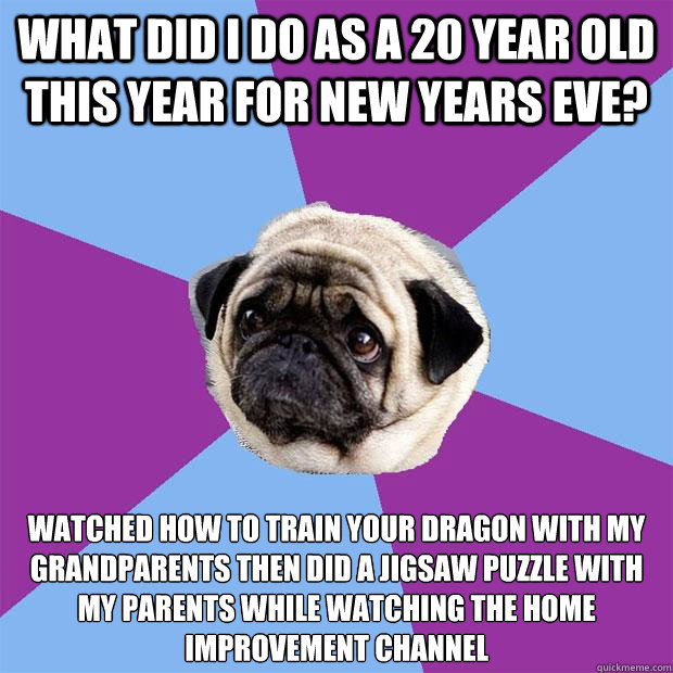 What did I do as a 20 year old this year for new years eve? Watched how to train your dragon with my grandparents then did a jigsaw puzzle with my parents while watching the home improvement channel - What did I do as a 20 year old this year for new years eve? Watched how to train your dragon with my grandparents then did a jigsaw puzzle with my parents while watching the home improvement channel  Lonely Pug