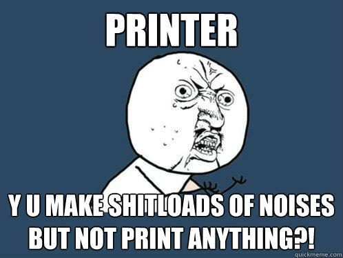 Printer y u make shitloads of noises but not print anything?!