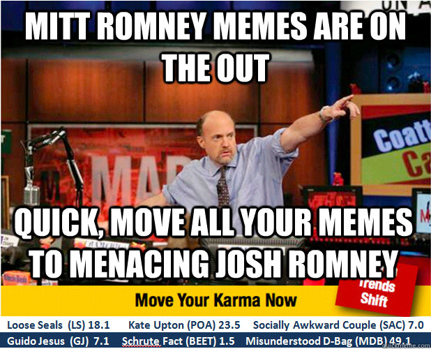 Mitt Romney memes are on the out Quick, move all your memes to Menacing Josh Romney - Mitt Romney memes are on the out Quick, move all your memes to Menacing Josh Romney  Jim Kramer with updated ticker