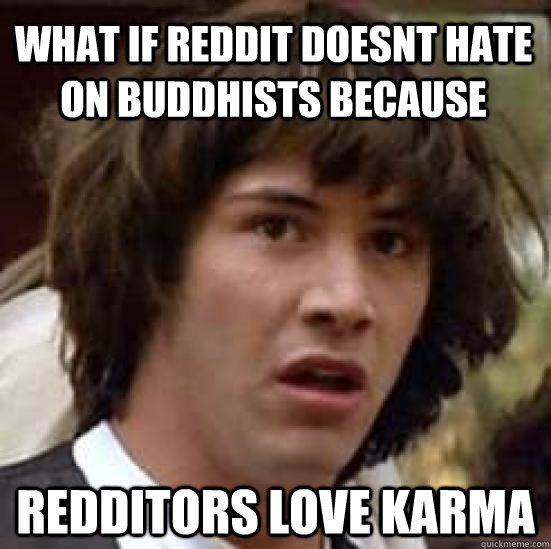 What if reddit doesnt hate on buddhists because redditors love karma - What if reddit doesnt hate on buddhists because redditors love karma  conspiracy keanu