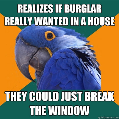 Realizes if burglar really wanted in a house They could just break the window - Realizes if burglar really wanted in a house They could just break the window  Paranoid Parrot