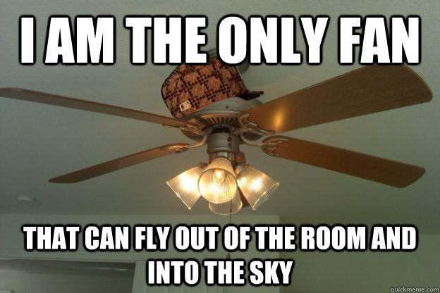 I am the only fan that can fly out of the room and into the sky  scumbag ceiling fan