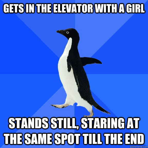 gets in the elevator with a girl stands still, staring at the same spot till the end - gets in the elevator with a girl stands still, staring at the same spot till the end  Socially Awkward Penguin