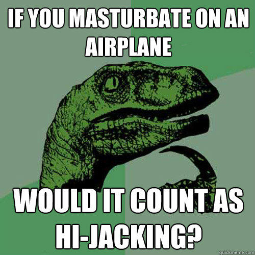 If you masturbate on an airplane Would it Count as Hi-jacking? - If you masturbate on an airplane Would it Count as Hi-jacking?  Philosoraptor